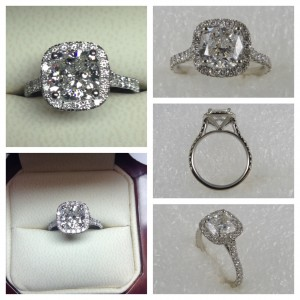 2.05 Cushion Cut GIA G VVS1 Halo Engagement Ring